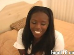 Ebony sucking big white cock
