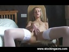 Sexy Blonde Milf Fingers Her Pussy