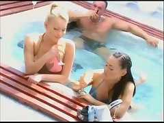 Hot Pool Threesome with Two Sexy Girls