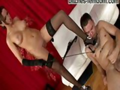 Mistress Asya sits on his face and plays