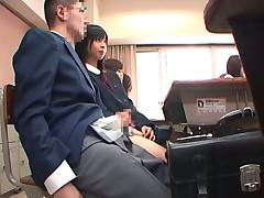 Japanese schoolgirls   Classroom handjob