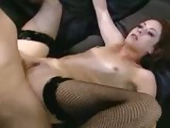 Petite redhead Chloe fucked in fishnets and stilettos