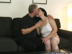 Nasty old bitch takes two tasty cocks after pussy toying