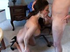 Victoria Valentino rides the sybian and gets fuck on table.