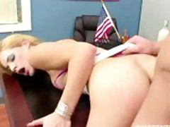 blonde babe gets her wet pussy fucked hrd by the school dean