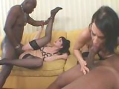 Hot Valleria Bernadetta and a friend fuck black cocks