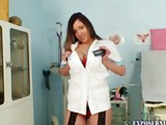 Nurse Andrea masturbating with big dildo and speculum