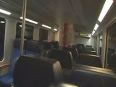 German couple plays and fucks on a train