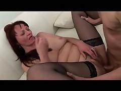 Dudes gangbang a mature slut in stockings