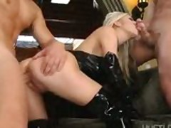 Michelle B. double teamed in a fetish threesome