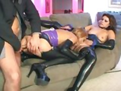 Threeway and a2m with babes in latex lingerie