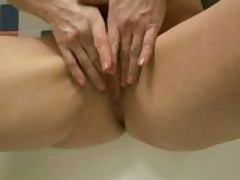 Lustful mom Jarka sucks a cock and spreads her cunt
