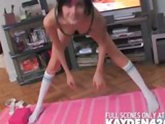 Yoga girl with big boobs gives a blowjob