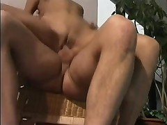 Poolside group sex in retro video