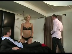 Ridiculously hot blonde fucked by two guys