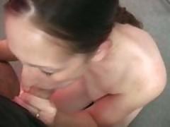 Amateur Trina gives a blowjob at a fake porn casting
