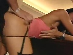 Guys give black-haired girl a threesome experience