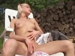 skinny blonde Laura fingers herself