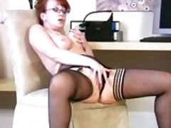 Busty Cougar RedXXX Fucking Herself