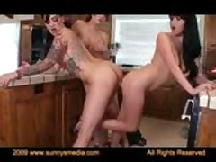 Hot Veronica Ricci, Busty Emily Parker & Sexy Chloe James In The Kitchen