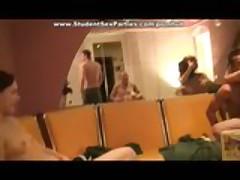 Student Sex Party in Sauna - lesbians masturbating