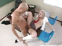 hot blonde student sucking and fucking her teacher