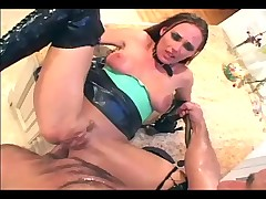 Pretty milf fucks in latex boots