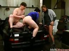 German full-grown fucked by team a few guys in the garage