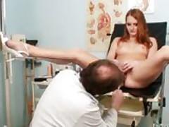 Redhead Denisa gyno pussy reflector vaginal examination
