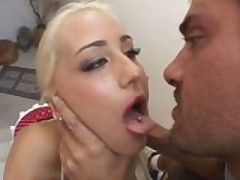 Blonde barbie fucked by two guys