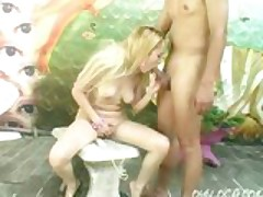 Horny Samantha Cruz fucking a guy while her naked girlfriends are swimming