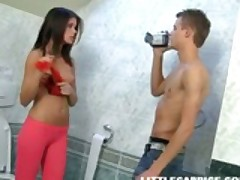 Caprice Bends Over In The Bathroom