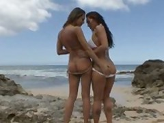 Great Lesbian Ass Licking at The Beach!