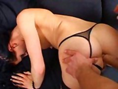 Girl In Fishnet Rides The Cock