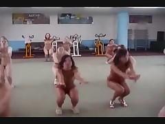 Aerobic dancing nudists