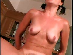Nice sexy with mature in kitchen