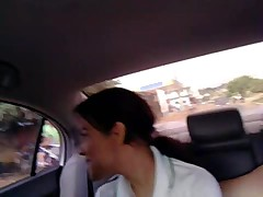 Brazilian teen in a car suck cock like a lollipop