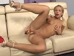 Perky coed slaps her clit
