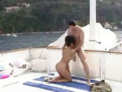 European Brunette In Her New Boat