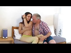 Small tittted girl gets drilled by grandpa