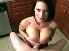 Milf Gives Tit Job In The Kitchen