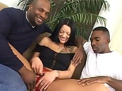 Mr.Marcus and Darren James rub dicks together in white girl pussy