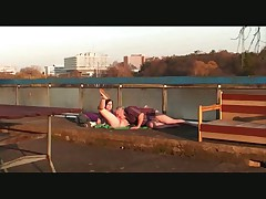 Old man fucks young girl outdoor