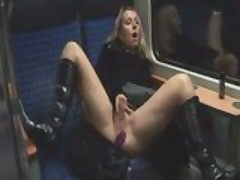 Women Masturbates On A Train