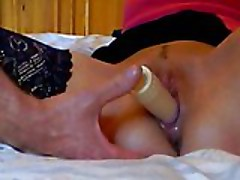Wet pussy dildo penetrated