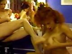 Crazy busty retro bitches foot fucking