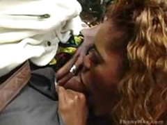Ebony with sexy eyes deepthroats