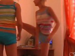 Super tight teens workout striptease