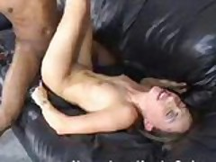 Skinny brunette fucks a black monster cock