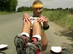 Sporty teen masturbates in middle of street